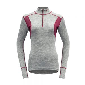 Puli-Devold-Hiking-Woman-Half-Zip-Neck-Grey-MelangeBeetroot