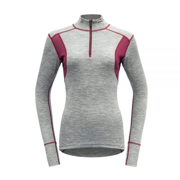 Puli-Devold-Hiking-Woman-Half-Zip-Neck-Grey-MelangeBeetroot